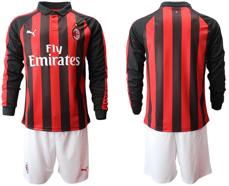 Men 2018-2019 club AC milan home long sleeve soccer jerseys
