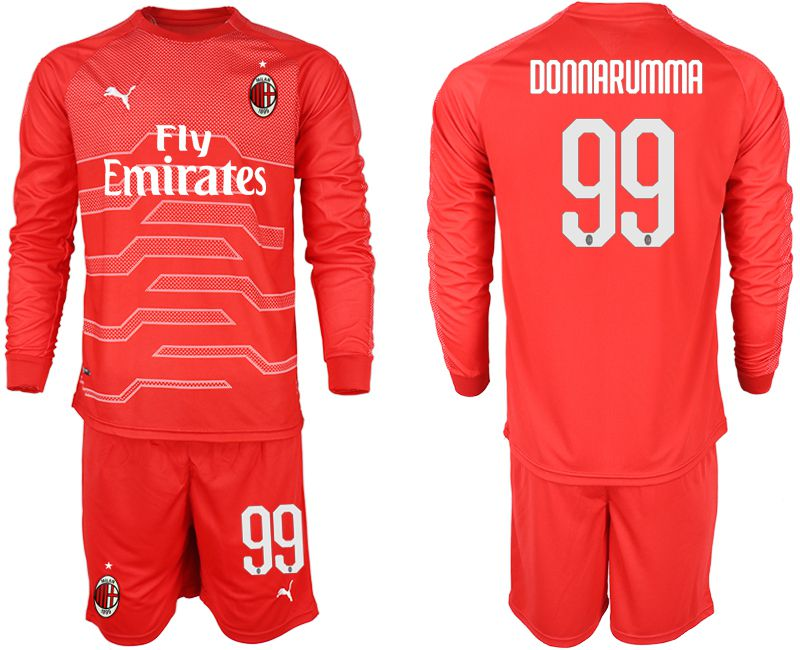 Men 2018-2019 club AC milan red goalkeeper long sleeve 99 soccer jerseys