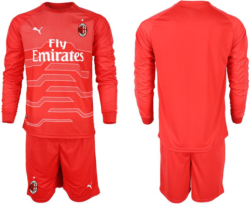 Men 2018-2019 club AC milan red goalkeeper long sleeve soccer jerseys