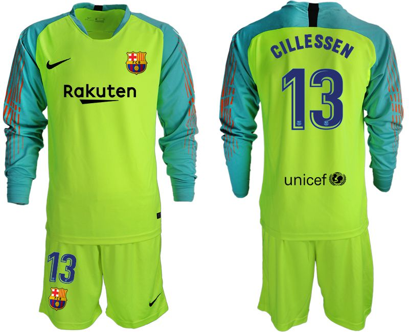 Men 2018-2019 club Barcelona fluorescent green long sleeve goalkeeper 13 soccer jersey
