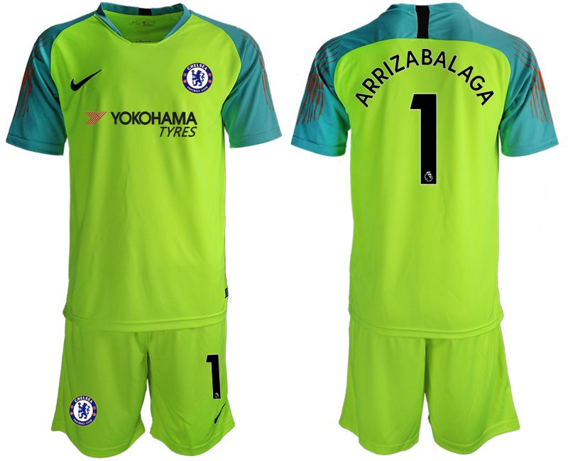 Men 2018-2019 club Chelsea fluorescent green goalkeeper 1 Soccer Jerseys