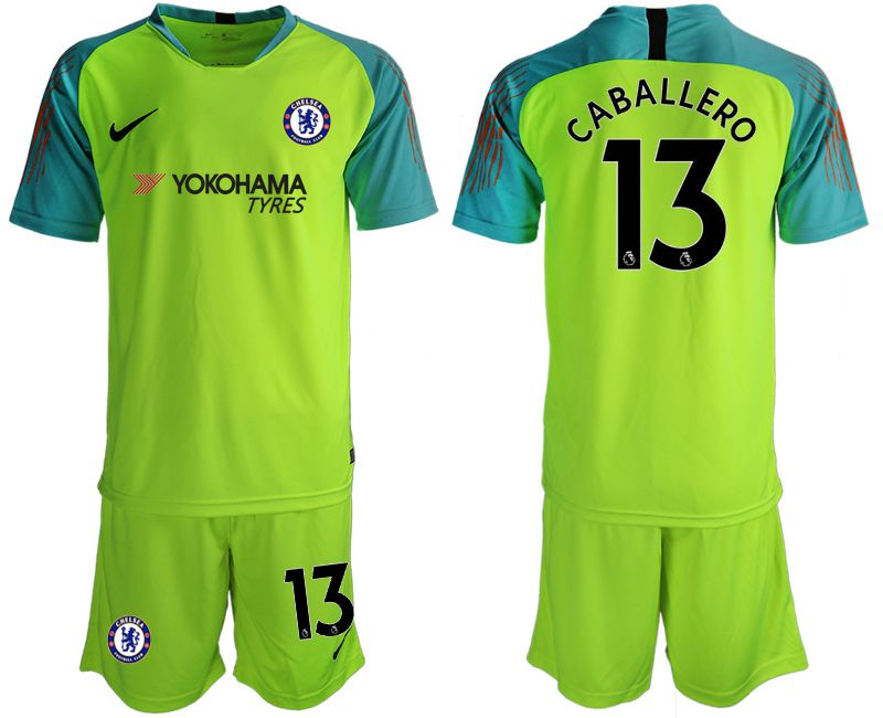 Men 2018-2019 club Chelsea fluorescent green goalkeeper 13 Soccer Jerseys