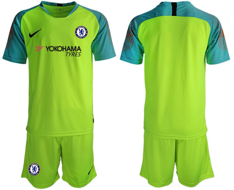 Men 2018-2019 club Chelsea fluorescent green goalkeeper Soccer Jerseys