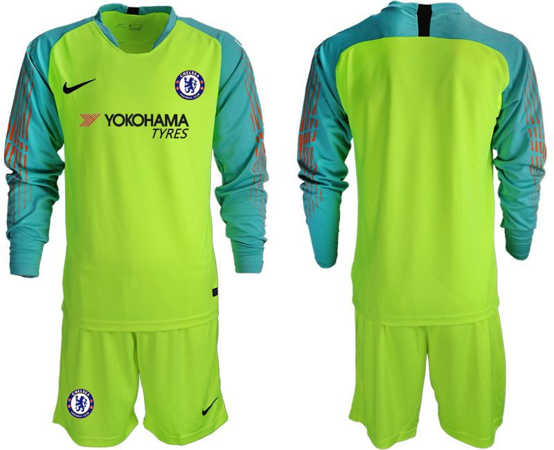 Men 2018-2019 club Chelsea fluorescent green long sleeve goalkeeper soccer jersey