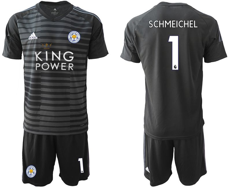 Men 2018-2019 club Leicester City black goalkeeper 1 soccer jersey