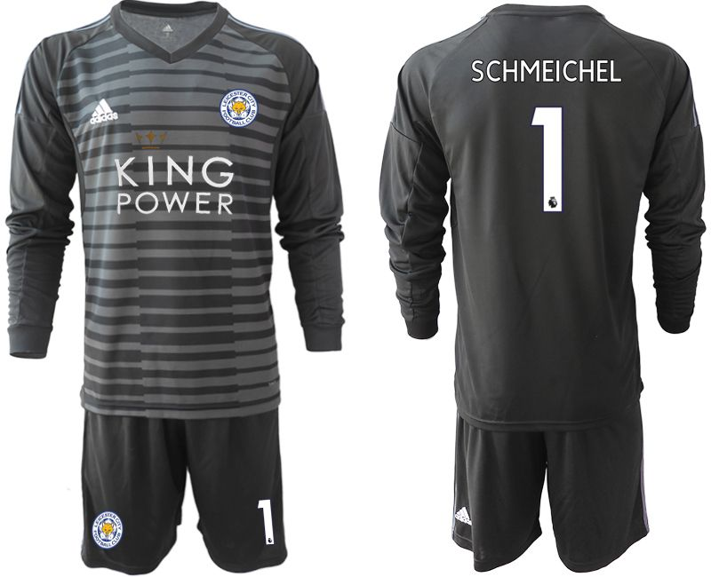 Men 2018-2019 club Leicester City black long sleeve goalkeeper 1 Soccer Jerseys