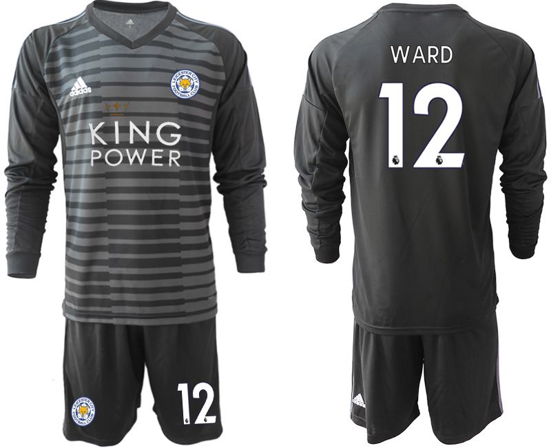Men 2018-2019 club Leicester City black long sleeve goalkeeper 12 Soccer Jerseys