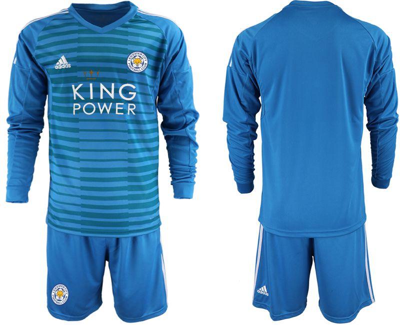 3e64d75ff Men 2018-2019 club Leicester City blue goalkeeper Long sleeve Soccer Jerseys