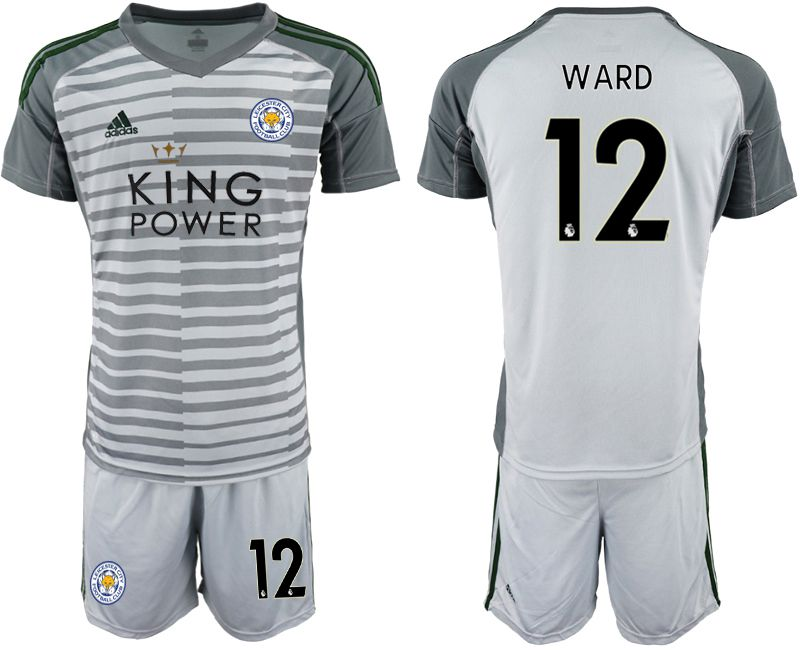 Men 2018-2019 club Leicester City gray goalkeeper 12 soccer jersey