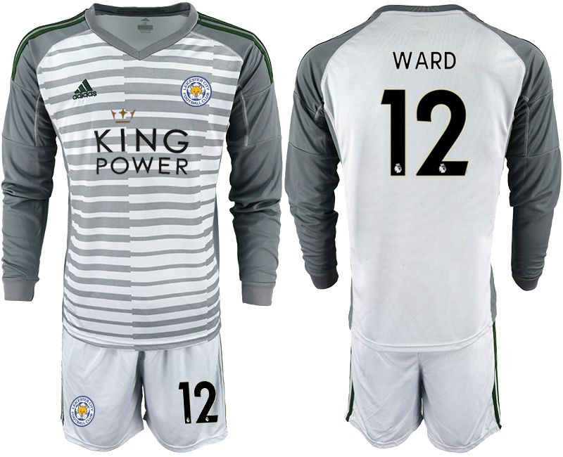 Men 2018-2019 club Leicester City gray long sleeve goalkeeper 12 Soccer Jerseys