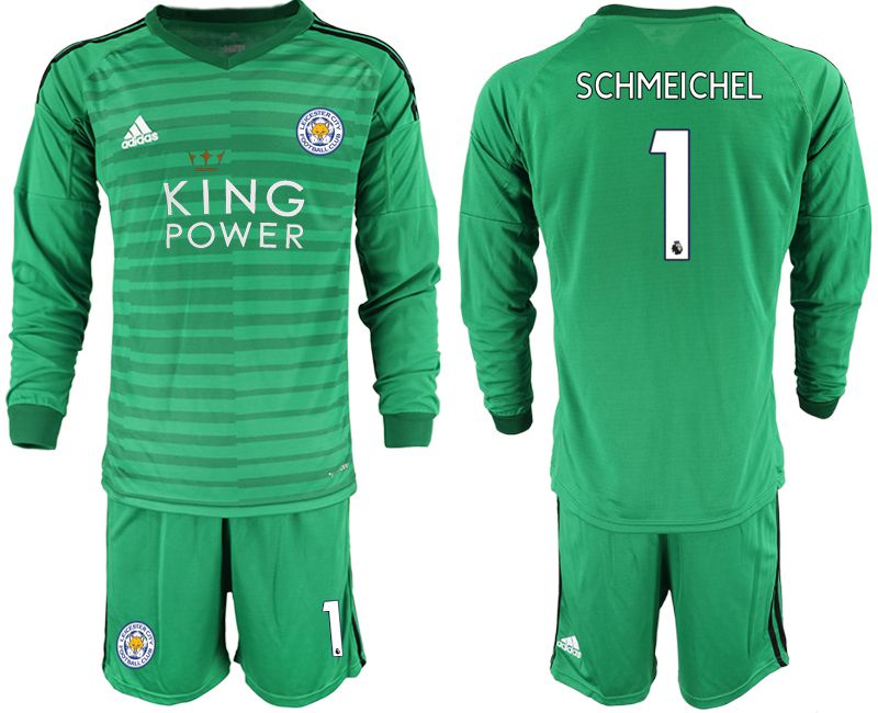 Men 2018-2019 club Leicester City green long sleeve goalkeeper 1 Soccer Jerseys