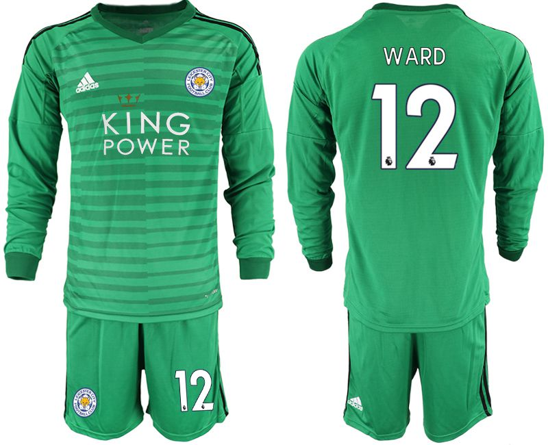 Men 2018-2019 club Leicester City green long sleeve goalkeeper 12 Soccer Jerseys