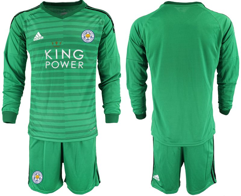 Men 2018-2019 club Leicester City green long sleeve goalkeeper Soccer Jerseys