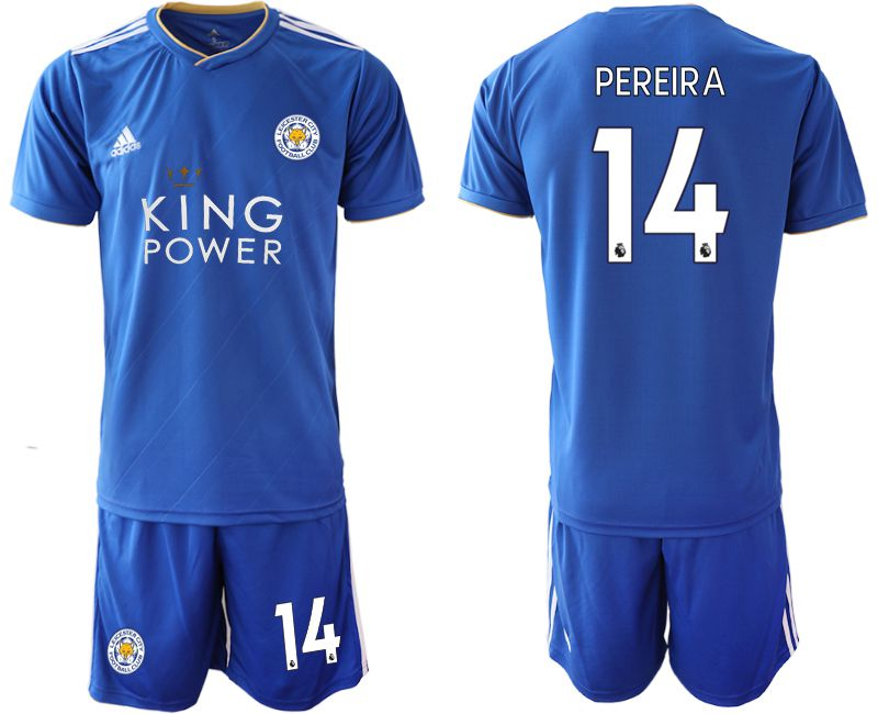 Men 2018-2019 club Leicester City home 14 blue soccer jersey