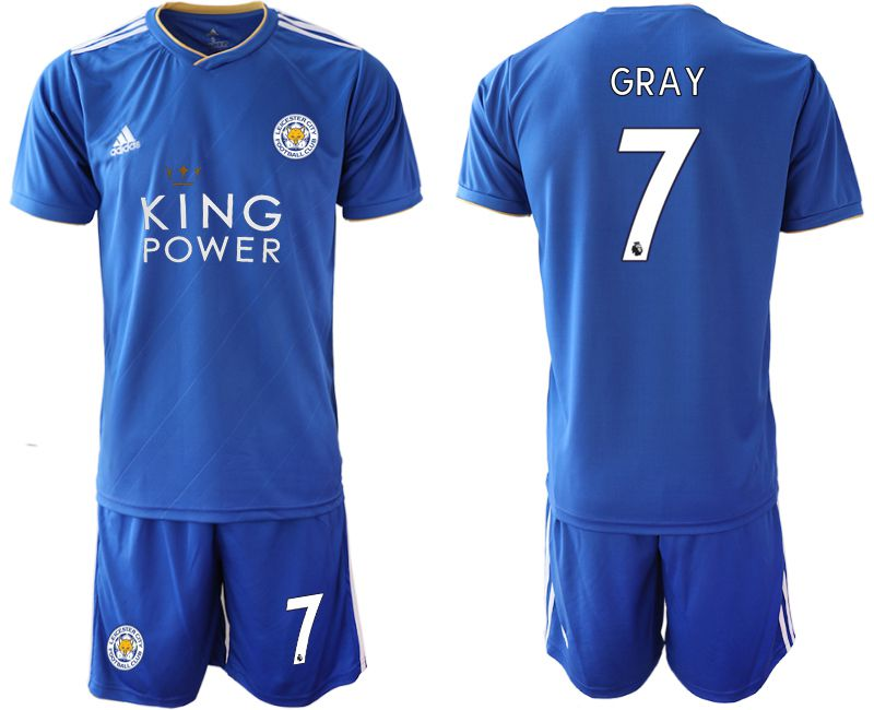 Men 2018-2019 club Leicester City home 7 blue Soccer Jerseys