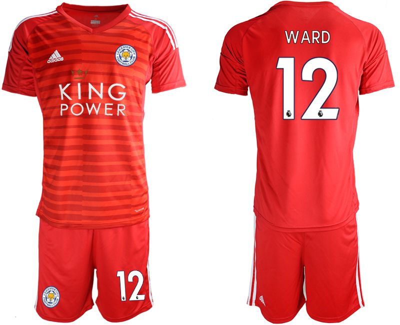 Men 2018-2019 club Leicester City red goalkeeper 12 soccer jersey