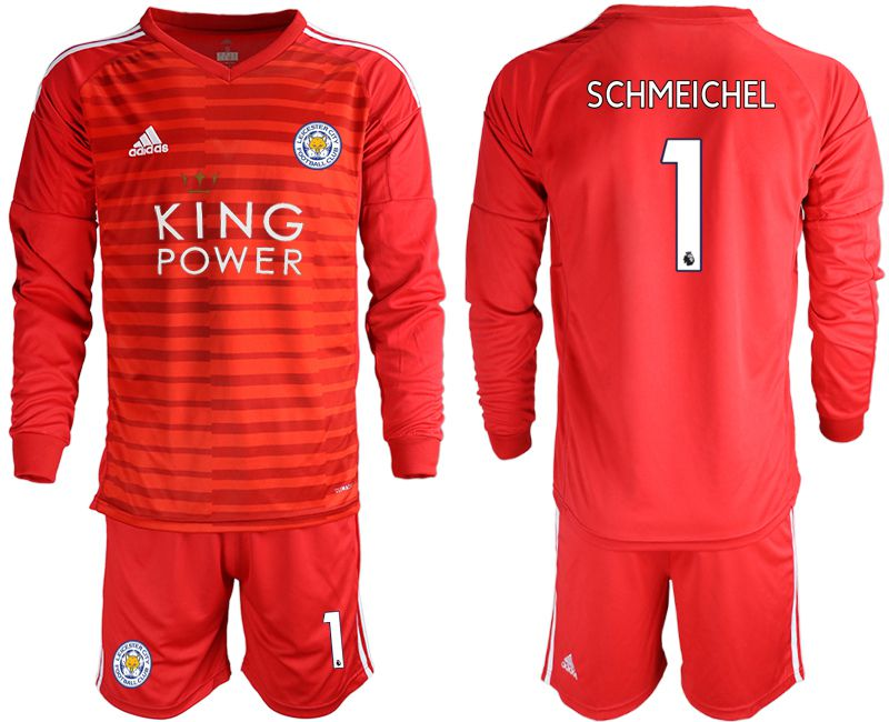 Men 2018-2019 club Leicester City red long sleeve goalkeeper 1 Soccer Jerseys