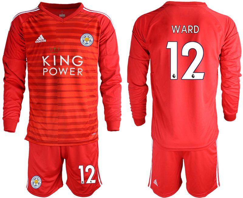 Men 2018-2019 club Leicester City red long sleeve goalkeeper 12 Soccer Jerseys
