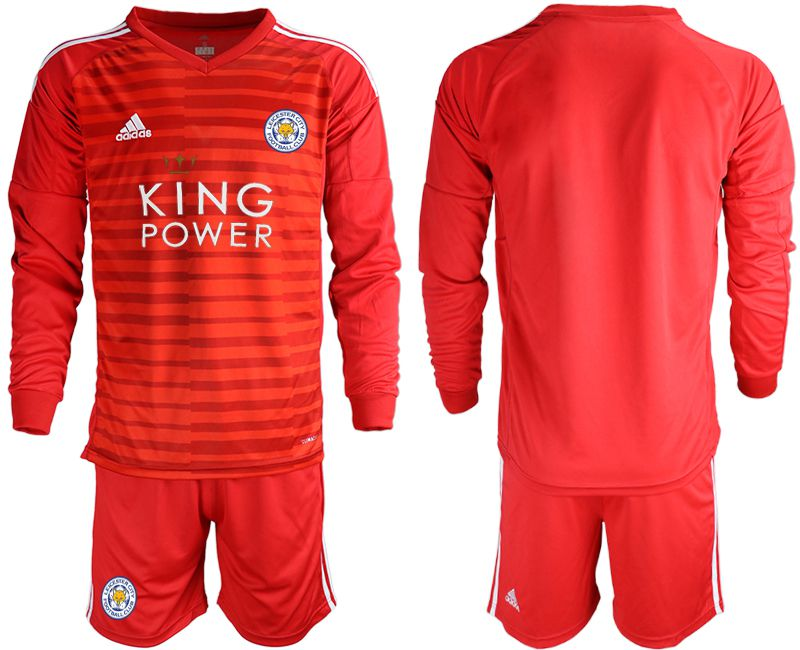 Men 2018-2019 club Leicester City red long sleeve goalkeeper Soccer Jerseys
