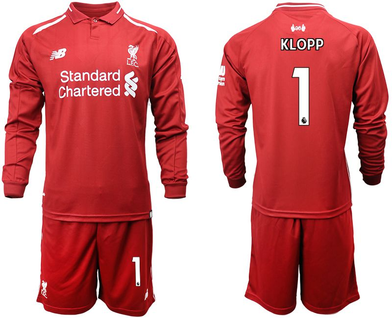 Men 2018-2019 club Liverpool home long sleeves 1 red soccer jersey