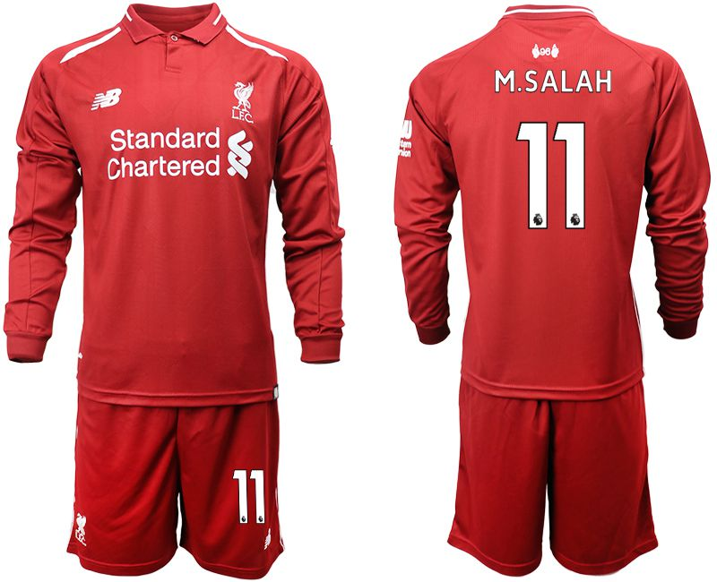 Men 2018-2019 club Liverpool home long sleeves 11 red soccer jersey