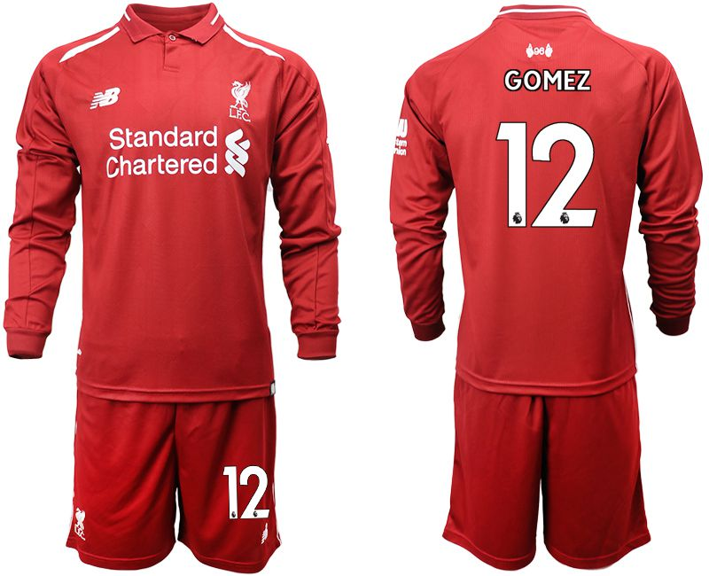 Men 2018-2019 club Liverpool home long sleeves 12 red soccer jersey