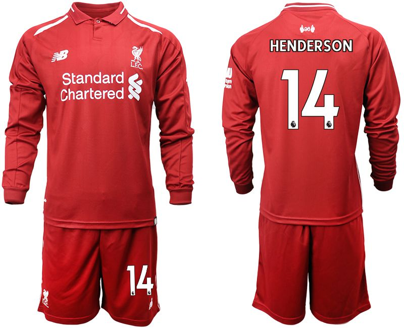 Men 2018-2019 club Liverpool home long sleeves 14 red soccer jersey