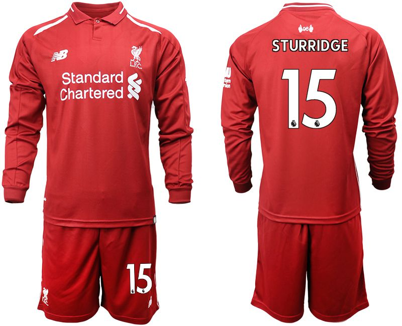 Men 2018-2019 club Liverpool home long sleeves 15 red soccer jersey