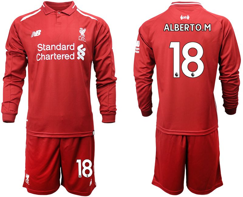 Men 2018-2019 club Liverpool home long sleeves 18 red soccer jersey