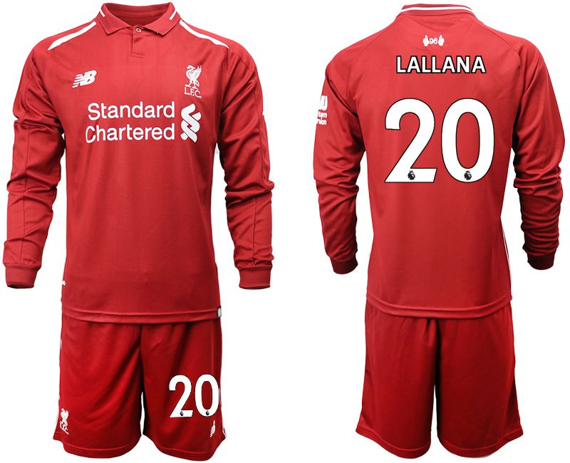 Men 2018-2019 club Liverpool home long sleeves 20 red soccer jersey
