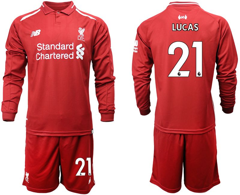 Men 2018-2019 club Liverpool home long sleeves 21 red soccer jersey