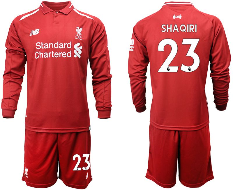 Men 2018-2019 club Liverpool home long sleeves 23 red soccer jersey