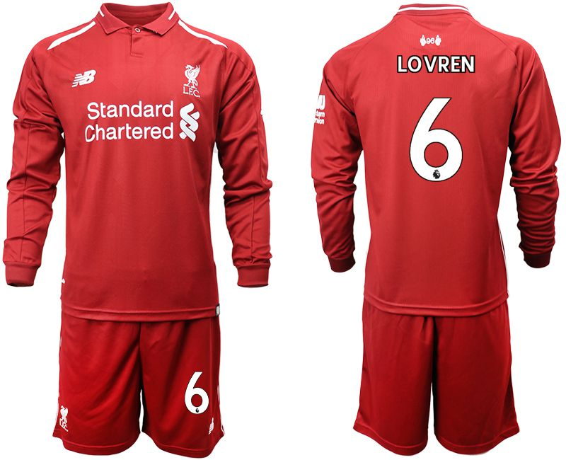 Men 2018-2019 club Liverpool home long sleeves 6 red soccer jersey
