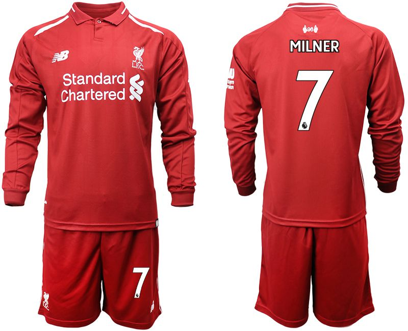 Men 2018-2019 club Liverpool home long sleeves 7 red soccer jersey