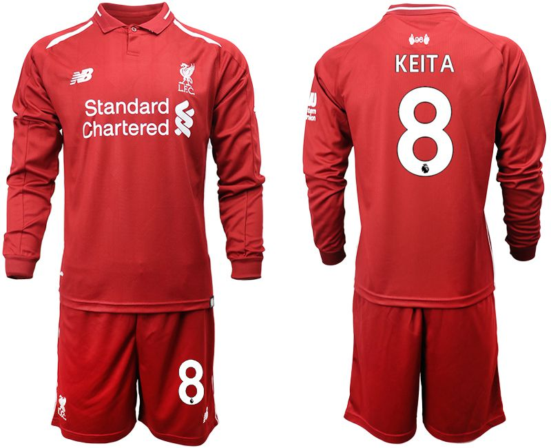 Men 2018-2019 club Liverpool home long sleeves 8 red soccer jersey