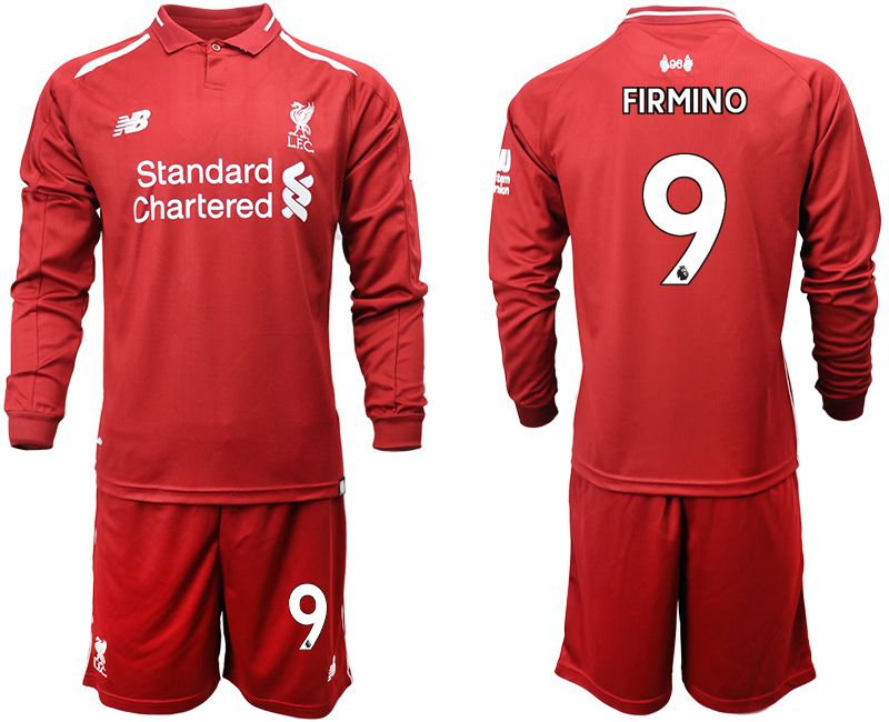 Men 2018-2019 club Liverpool home long sleeves 9 red soccer jersey