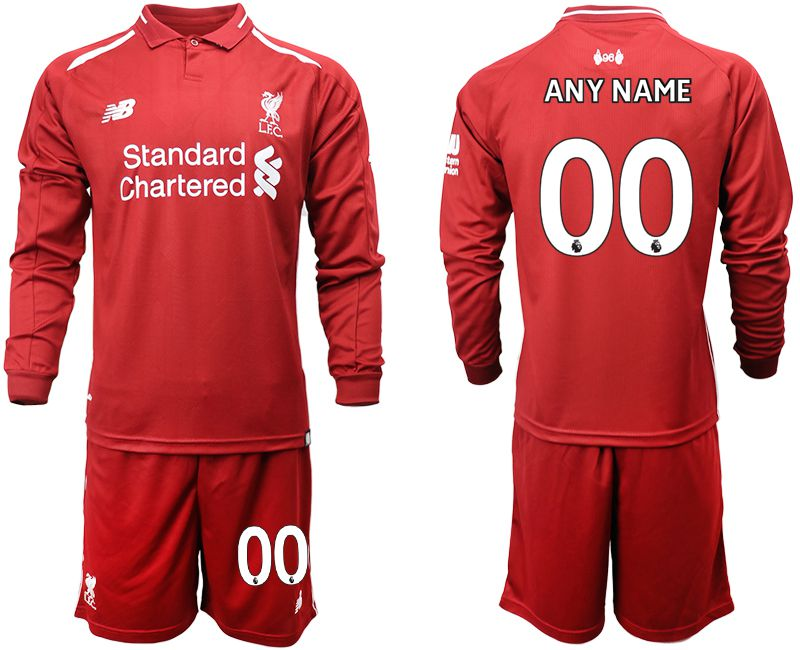 Men 2018-2019 club Liverpool home long sleeves customized red soccer jersey