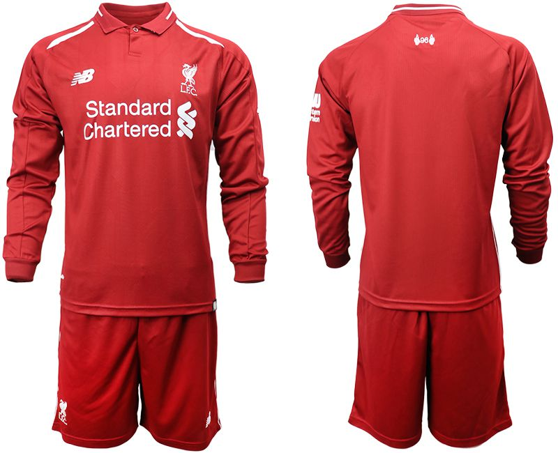 Men 2018-2019 club Liverpool home long sleeves red soccer jersey