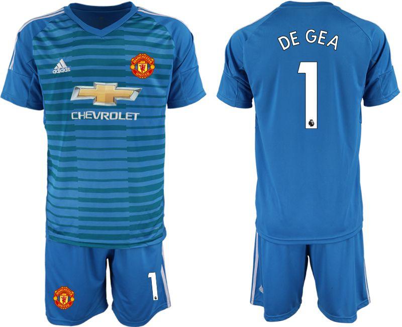 cd8edb548fb Men 2018-2019 club Manchester United blue goalkeeper 1 Soccer Jerseys