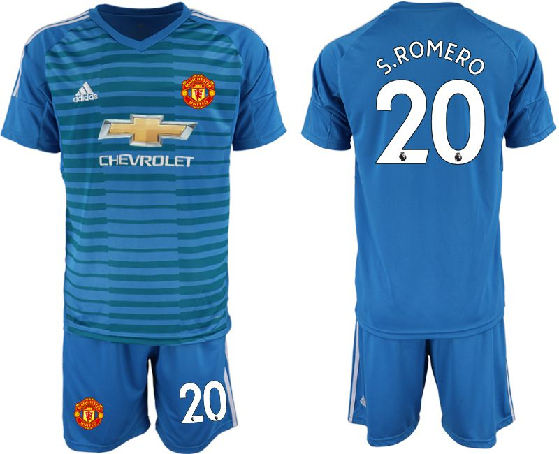 Men 2018-2019 club Manchester United blue goalkeeper 20 Soccer Jerseys
