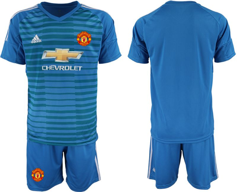 Men 2018-2019 club Manchester United blue goalkeeper Soccer Jerseys