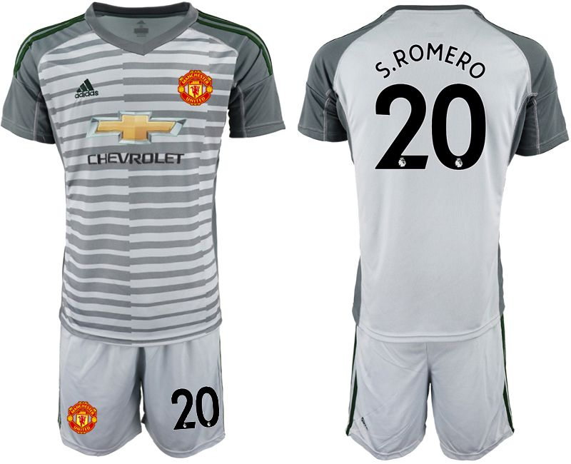Men 2018-2019 club Manchester United gray goalkeeper 20 Soccer Jerseys