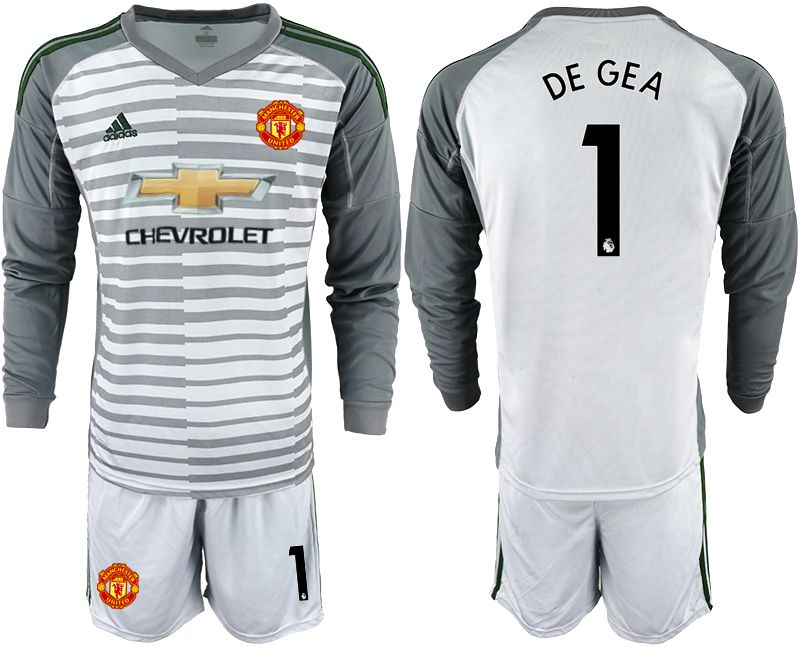 Men 2018-2019 club Manchester United gray long sleeve goalkeeper 1 Soccer Jerseys