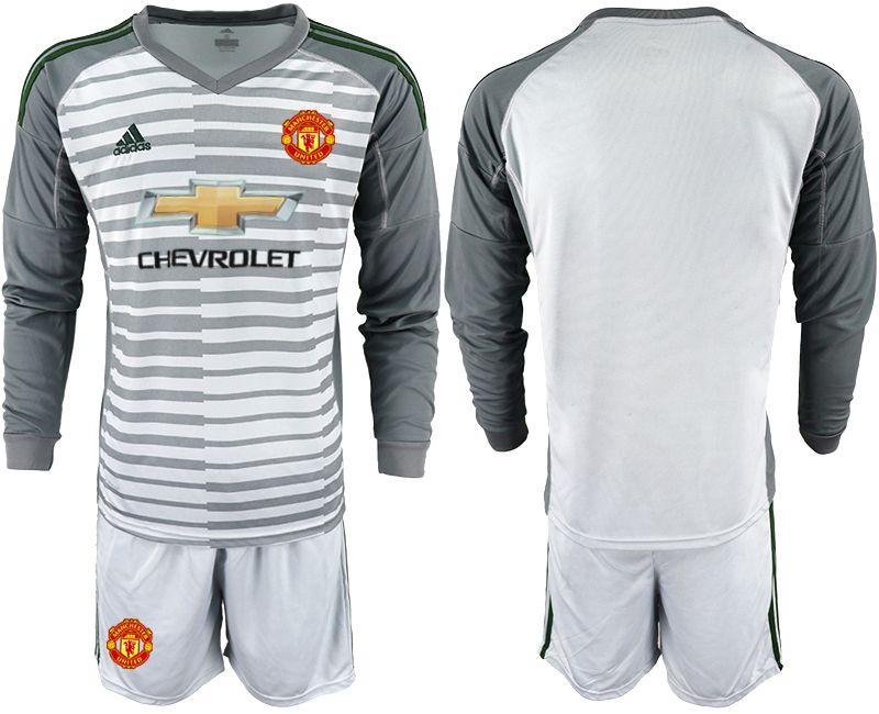 828d6e8009f Men 2018-2019 club Manchester United gray long sleeve goalkeeper Soccer  Jerseys