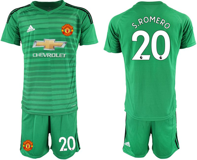 Men 2018-2019 club Manchester United green goalkeeper 20 Soccer Jerseys