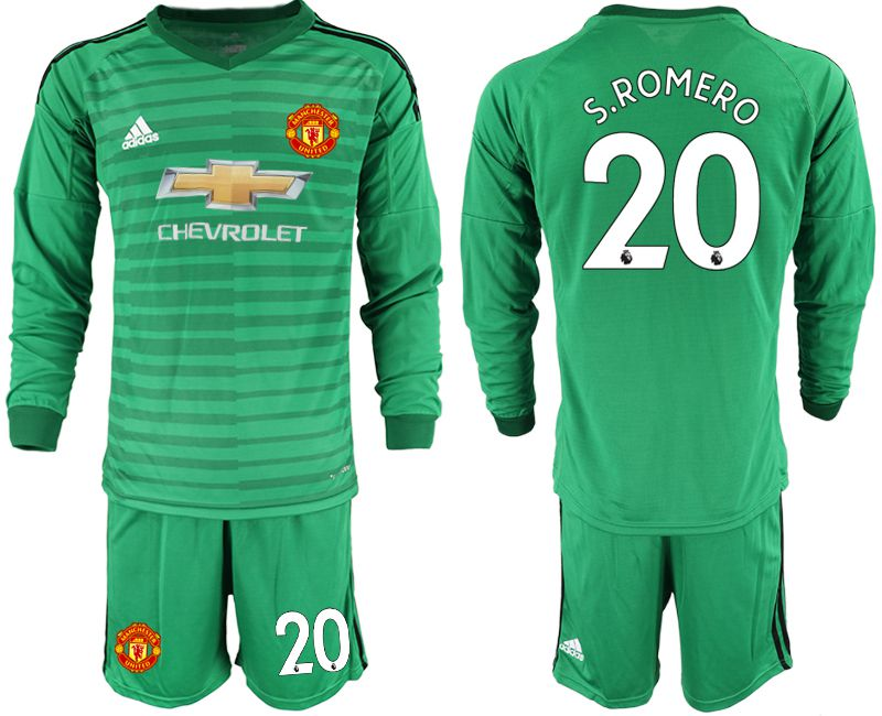 Men 2018-2019 club Manchester United green long sleeve goalkeeper 20 Soccer Jerseys