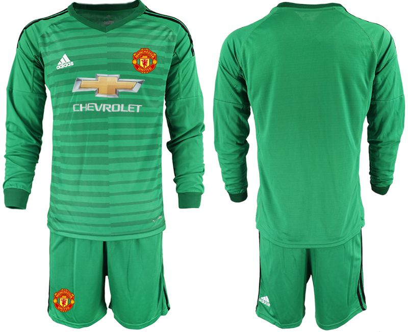 Men 2018-2019 club Manchester United green long sleeve goalkeeper Soccer Jerseys