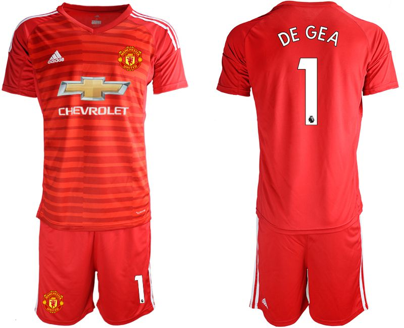 Men 2018-2019 club Manchester United red goalkeeper 1 Soccer Jerseys