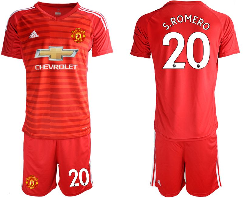 Men 2018-2019 club Manchester United red goalkeeper 20 Soccer Jerseys