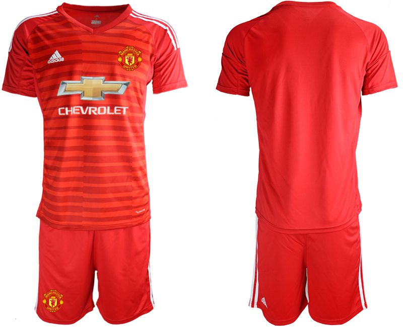 Men 2018-2019 club Manchester United red goalkeeper Soccer Jerseys